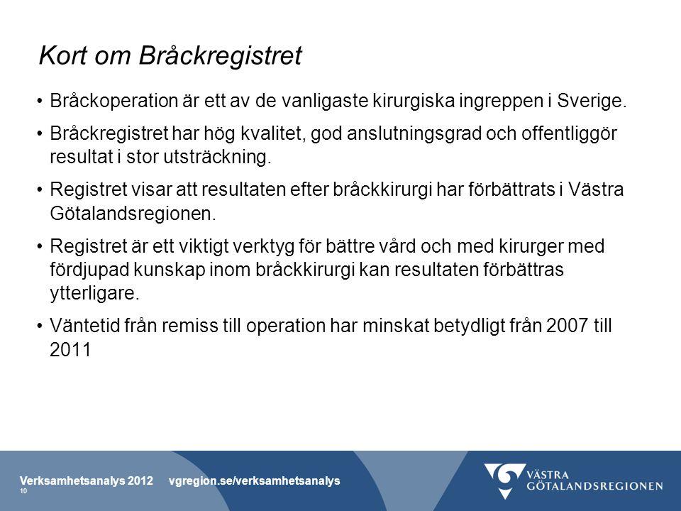 Kort om Bråckregistret Bråckoperation är ett av de vanligaste kirurgiska ingreppen i Sverige. Bråckregistret har hög kvalitet, god anslutningsgrad och