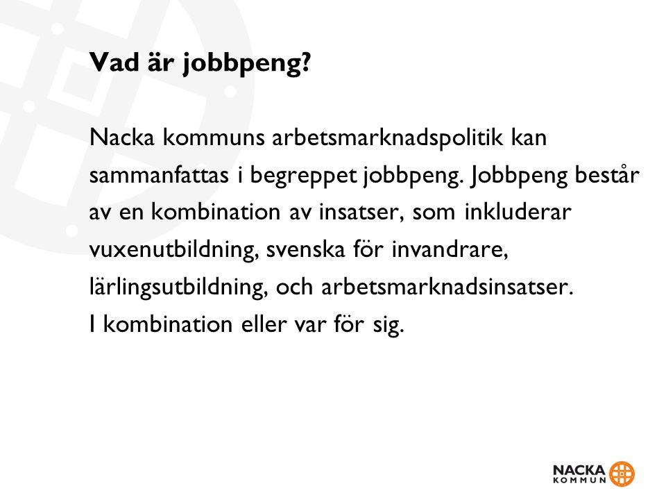 Vad är jobbpeng? Nacka kommuns arbetsmarknadspolitik kan sammanfattas i begreppet jobbpeng. Jobbpeng består av en kombination av insatser, som inklude