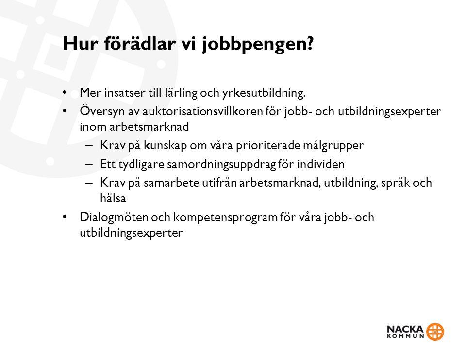 Hur förädlar vi jobbpengen? Mer insatser till lärling och yrkesutbildning. Översyn av auktorisationsvillkoren för jobb- och utbildningsexperter inom a