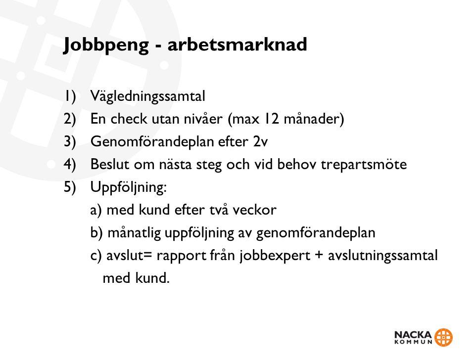 Jobbpeng - arbetsmarknad 1)Vägledningssamtal 2)En check utan nivåer (max 12 månader) 3)Genomförandeplan efter 2v 4)Beslut om nästa steg och vid behov