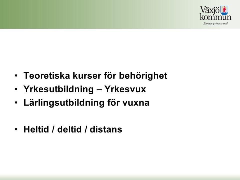 Teoretiska kurser för behörighet Yrkesutbildning – Yrkesvux Lärlingsutbildning för vuxna Heltid / deltid / distans