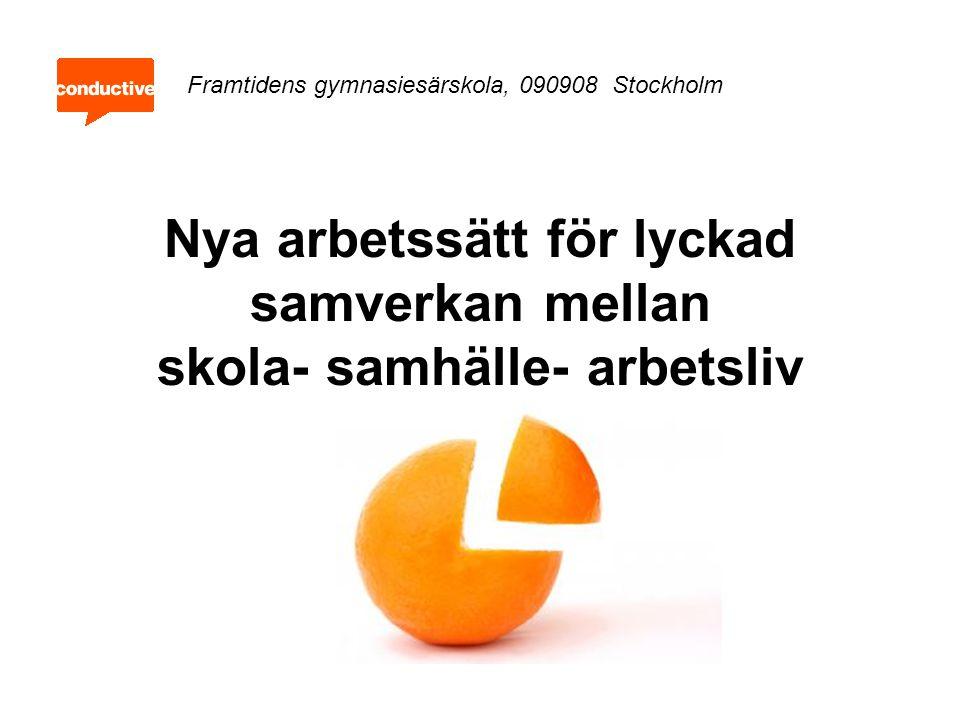 Nya arbetssätt för lyckad samverkan mellan skola- samhälle- arbetsliv Framtidens gymnasiesärskola, 090908 Stockholm