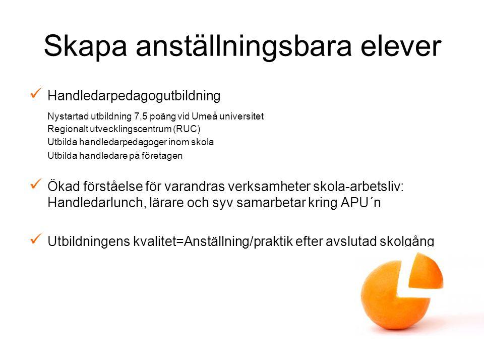 Skapa anställningsbara elever Handledarpedagogutbildning Nystartad utbildning 7,5 poäng vid Umeå universitet Regionalt utvecklingscentrum (RUC) Utbild