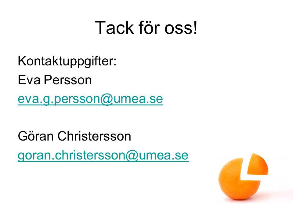 Tack för oss! Kontaktuppgifter: Eva Persson eva.g.persson@umea.se Göran Christersson goran.christersson@umea.se