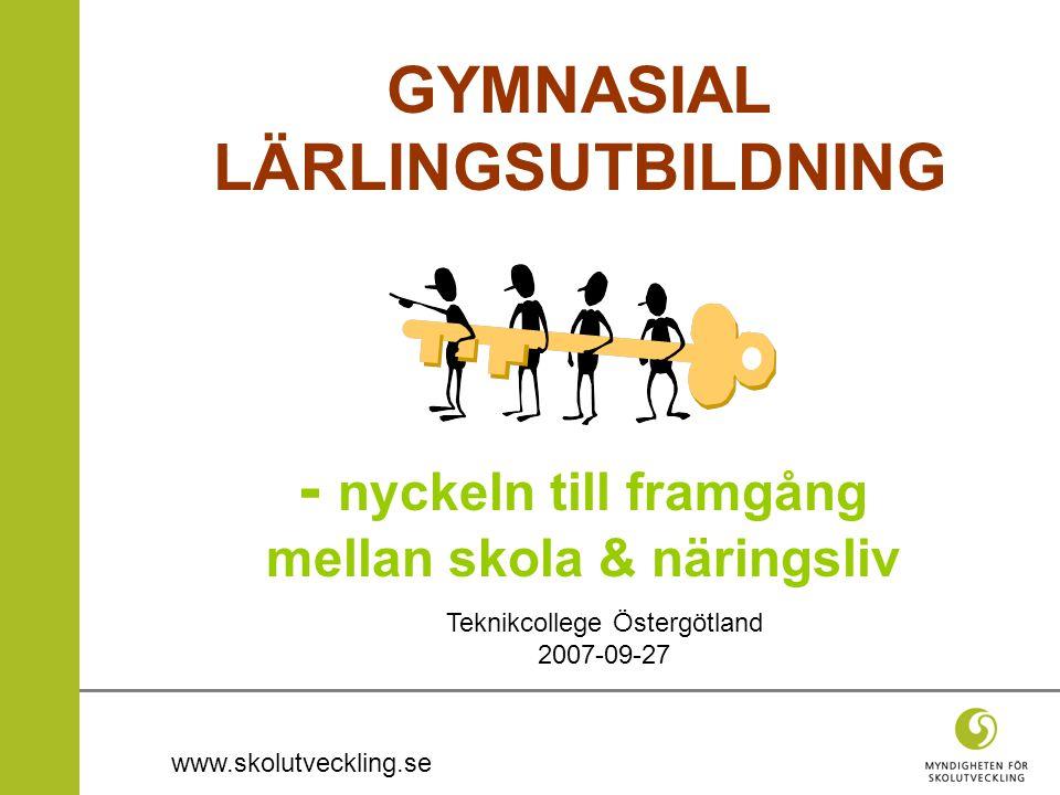 www.skolutveckling.se GYMNASIAL LÄRLINGSUTBILDNING - nyckeln till framgång mellan skola & näringsliv Teknikcollege Östergötland 2007-09-27