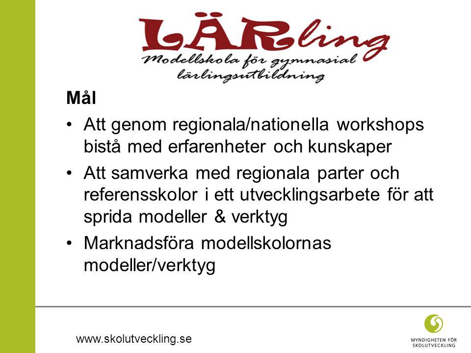 www.skolutveckling.se Mål Att genom regionala/nationella workshops bistå med erfarenheter och kunskaper Att samverka med regionala parter och referensskolor i ett utvecklingsarbete för att sprida modeller & verktyg Marknadsföra modellskolornas modeller/verktyg