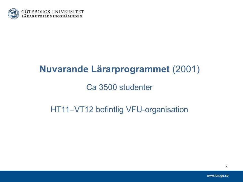 www.lun.gu.se Nuvarande Lärarprogrammet (2001) Ca 3500 studenter HT11–VT12 befintlig VFU-organisation 2