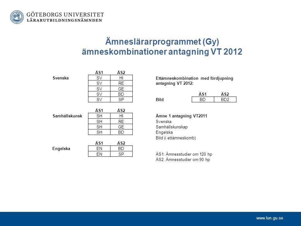 www.lun.gu.se Ämneslärarprogrammet (Gy) ämneskombinationer antagning VT 2012 ÄS1ÄS2 SvenskaSVHI SVRE SVGE SVBD SVSP ÄS1ÄS2 SamhällskunskSHHI SHRE SHGE