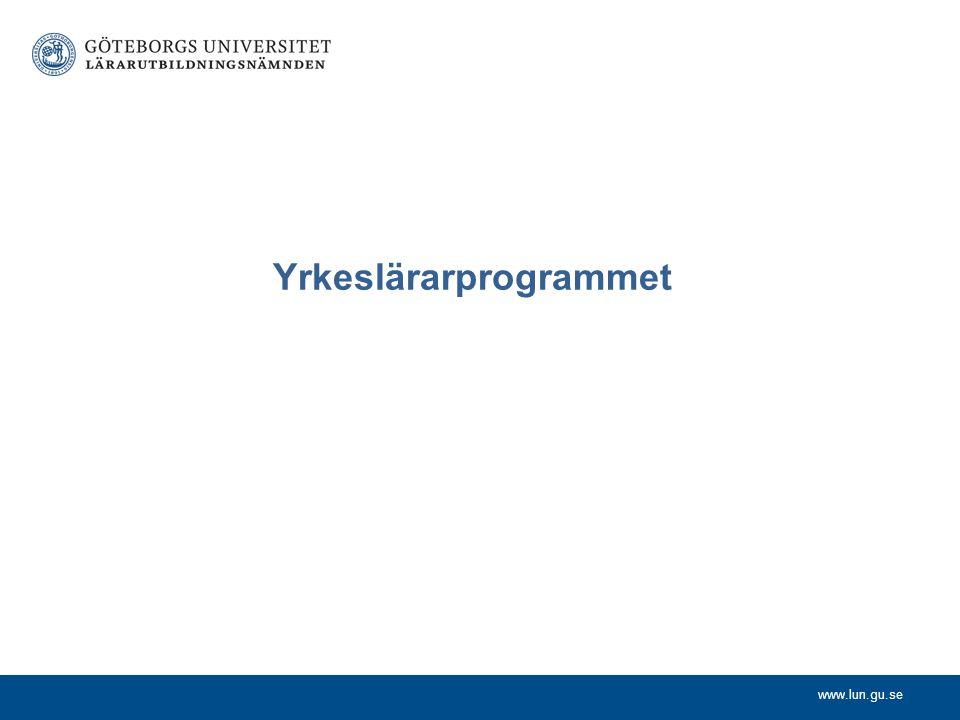 www.lun.gu.se Yrkeslärarprogrammet