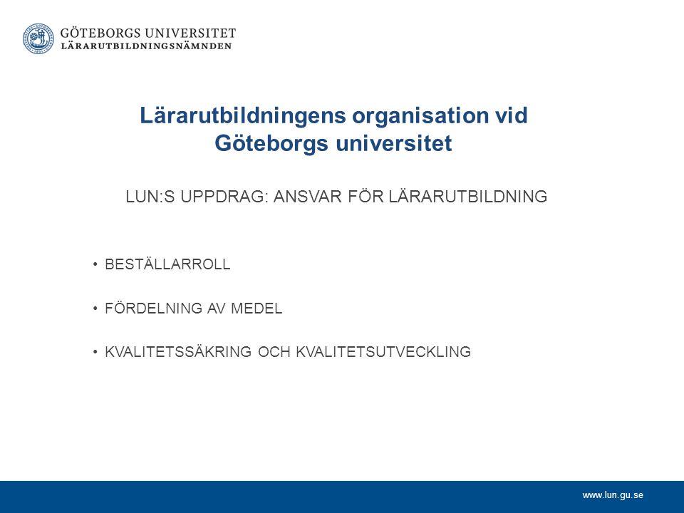 www.lun.gu.se Lärarutbildningens organisation vid Göteborgs universitet LUN:S UPPDRAG: ANSVAR FÖR LÄRARUTBILDNING BESTÄLLARROLL FÖRDELNING AV MEDEL KV