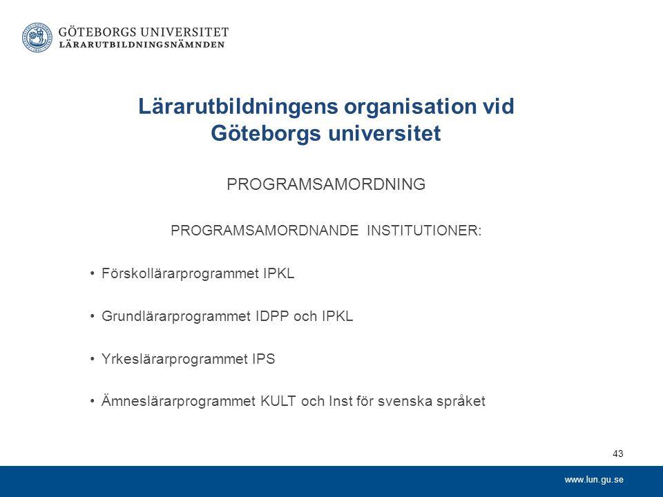 www.lun.gu.se Lärarutbildningens organisation vid Göteborgs universitet PROGRAMSAMORDNING PROGRAMSAMORDNANDE INSTITUTIONER: Förskollärarprogrammet IPK