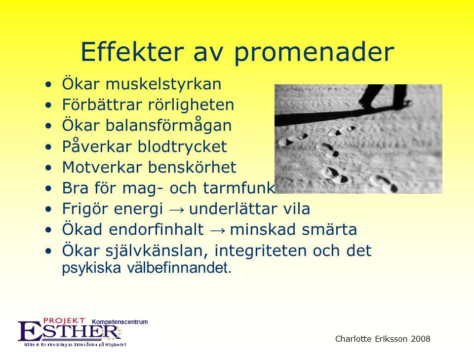 Kompetenscentrum Charlotte Eriksson 2008 Effekter av promenader Ökar muskelstyrkan Förbättrar rörligheten Ökar balansförmågan Påverkar blodtrycket Mot