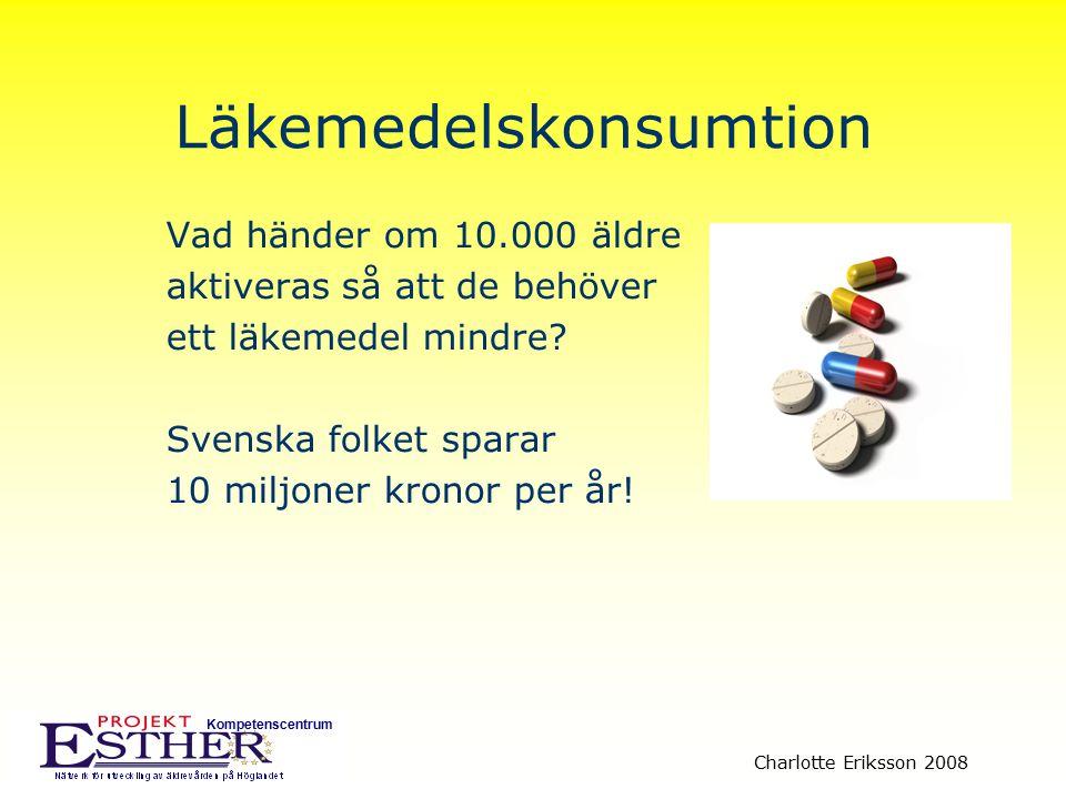 Kompetenscentrum Charlotte Eriksson 2008 Läkemedelskonsumtion Vad händer om 10.000 äldre aktiveras så att de behöver ett läkemedel mindre? Svenska fol