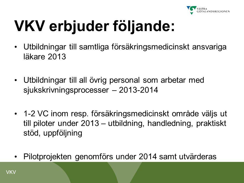 VKV VKV erbjuder följande: Utbildningar till samtliga försäkringsmedicinskt ansvariga läkare 2013 Utbildningar till all övrig personal som arbetar med