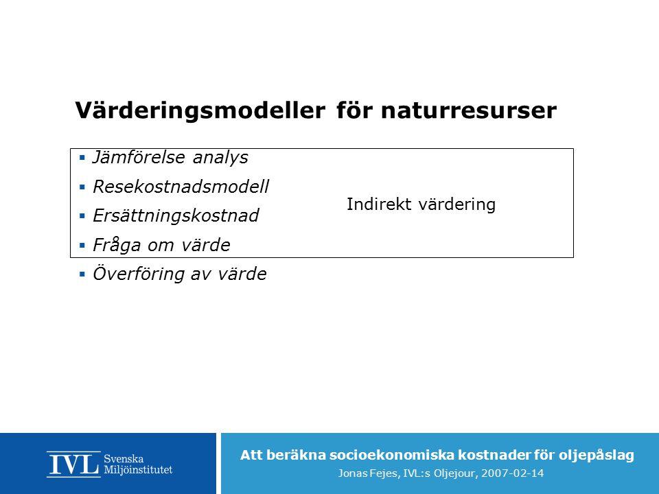Att beräkna socioekonomiska kostnader för oljepåslag Jonas Fejes, IVL:s Oljejour, 2007-02-14 Värderingsmodeller för naturresurser  Jämförelse analys  Resekostnadsmodell  Ersättningskostnad  Fråga om värde  Överföring av värde Indirekt värdering