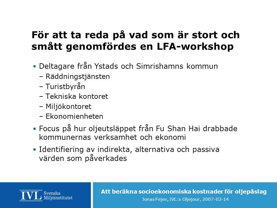 Att beräkna socioekonomiska kostnader för oljepåslag Jonas Fejes, IVL:s Oljejour, 2007-02-14 LFA-Kåseberga