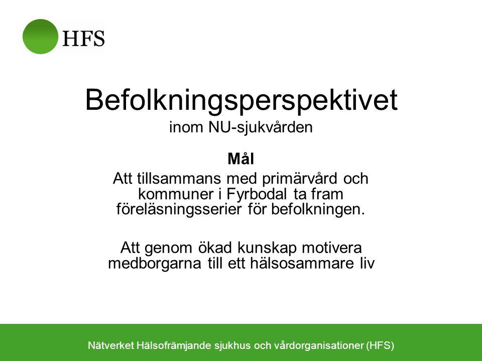 Befolkningsperspektivet inom NU-sjukvården Mål Att tillsammans med primärvård och kommuner i Fyrbodal ta fram föreläsningsserier för befolkningen.