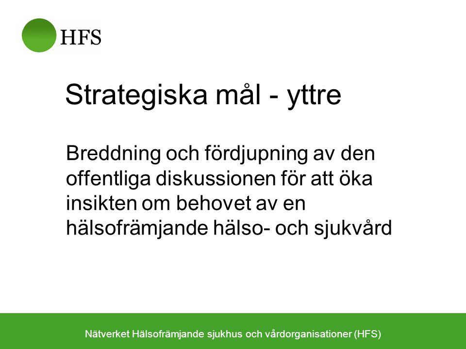 Strategiska mål - inre Stödjande av det interna utvecklingsarbetet inom hälso- och sjukvården –Patientperspektivet Hälsofrämjande och sjukdomsförebyggande i vårdkedjan –Befolkningsperspektivet Kunskap och kompetens i befolkningsinriktade insatser –Medarbetarperspektivet Modellbildare för den goda arbetsplatsen –Styr- & ledningsperspektivet Hälsoorientering som strategi för en effektivare vård Nätverket Hälsofrämjande sjukhus och vårdorganisationer (HFS)