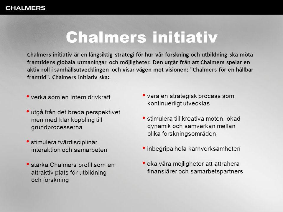 Chalmers initiativ verka som en intern drivkraft utgå från det breda perspektivet men med klar koppling till grundprocesserna stimulera tvärdisciplinä