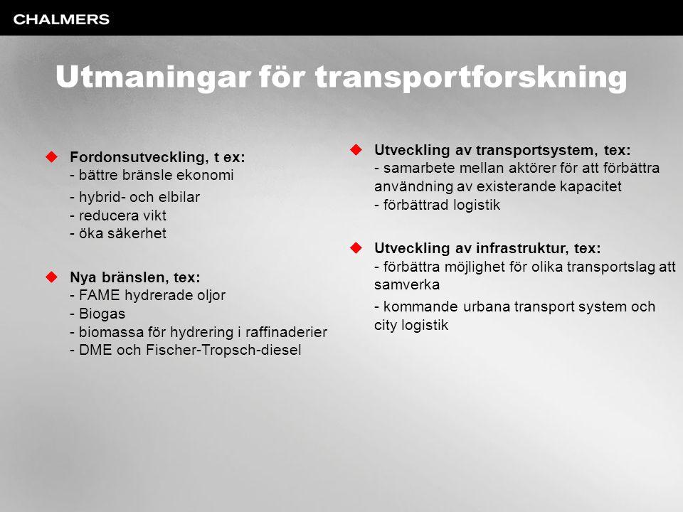 Utmaningar för transportforskning  Fordonsutveckling, t ex: - bättre bränsle ekonomi - hybrid- och elbilar - reducera vikt - öka säkerhet  Nya bräns