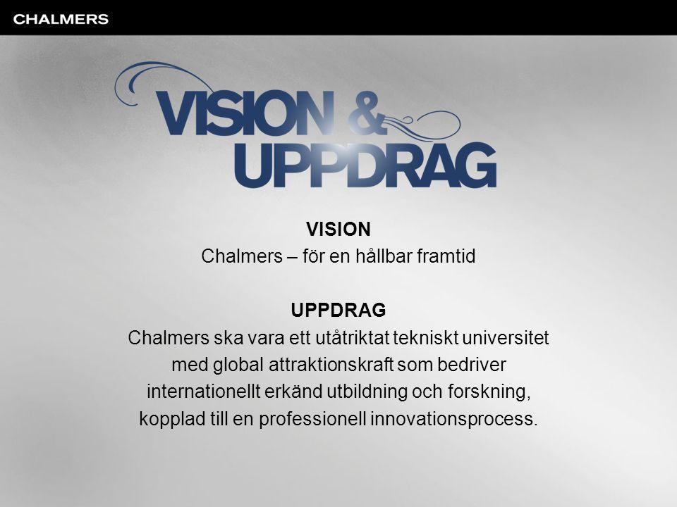 VISION Chalmers – för en hållbar framtid UPPDRAG Chalmers ska vara ett utåtriktat tekniskt universitet med global attraktionskraft som bedriver intern