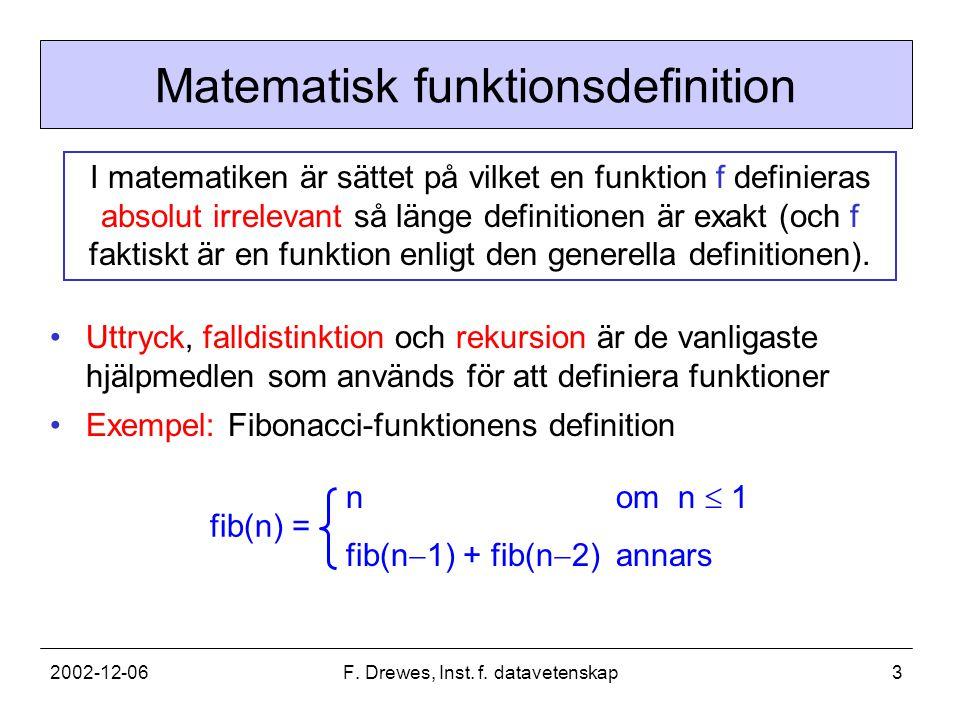 2002-12-06F.Drewes, Inst. f. datavetenskap4 Variablernas roll i matematiken En variabel som t.ex.