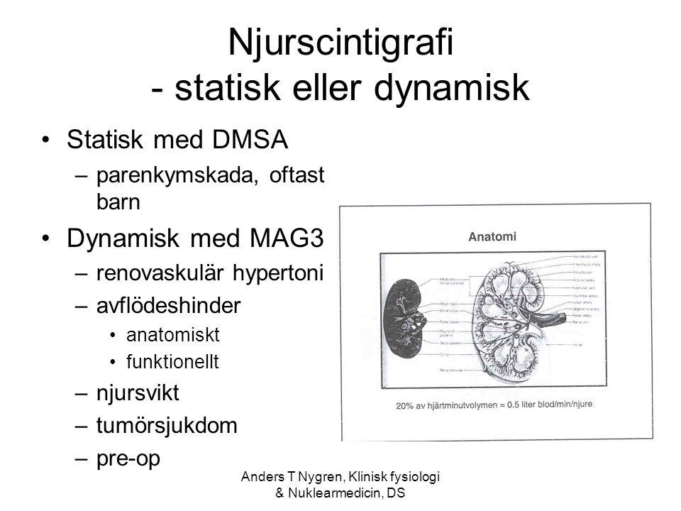 Anders T Nygren, Klinisk fysiologi & Nuklearmedicin, DS Njurscintigrafi - statisk eller dynamisk Statisk med DMSA –parenkymskada, oftast barn Dynamisk med MAG3 –renovaskulär hypertoni –avflödeshinder anatomiskt funktionellt –njursvikt –tumörsjukdom –pre-op