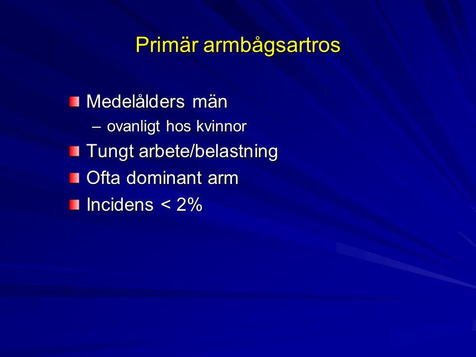 Primär armbågsartros Medelålders män –ovanligt hos kvinnor Tungt arbete/belastning Ofta dominant arm Incidens < 2%