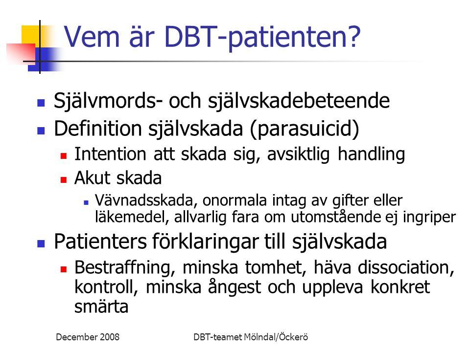 December 2008DBT-teamet Mölndal/Öckerö Vem är DBT-patienten? Självmords- och självskadebeteende Definition självskada (parasuicid) Intention att skada