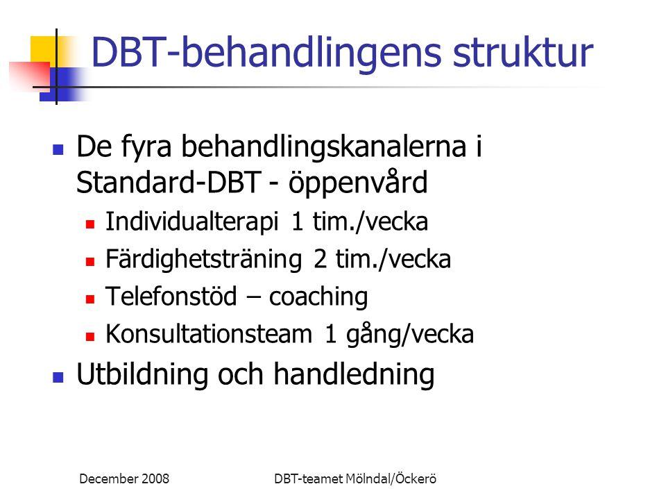 December 2008DBT-teamet Mölndal/Öckerö DBT-behandlingens struktur De fyra behandlingskanalerna i Standard-DBT - öppenvård Individualterapi 1 tim./vecka Färdighetsträning 2 tim./vecka Telefonstöd – coaching Konsultationsteam 1 gång/vecka Utbildning och handledning