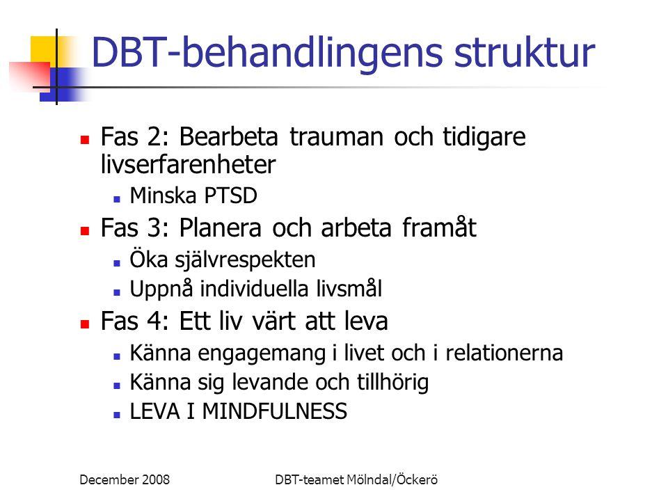 December 2008DBT-teamet Mölndal/Öckerö DBT-behandlingens struktur Fas 2: Bearbeta trauman och tidigare livserfarenheter Minska PTSD Fas 3: Planera och