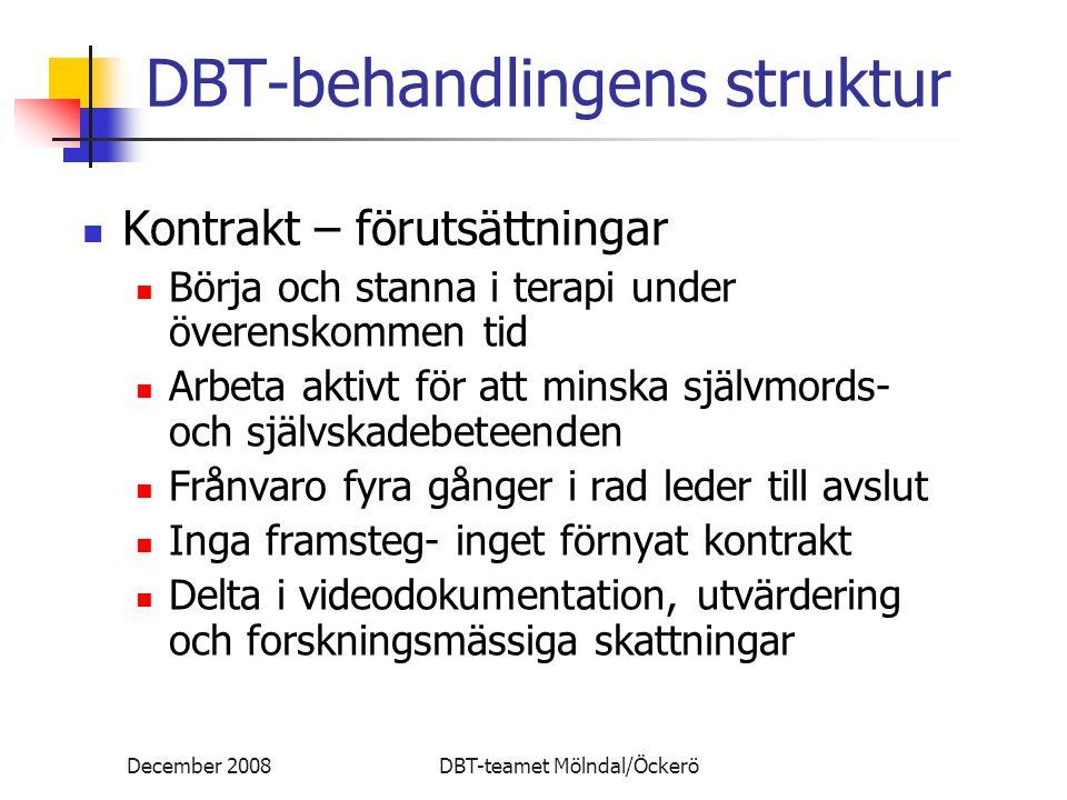 December 2008DBT-teamet Mölndal/Öckerö DBT-behandlingens struktur Kontrakt – förutsättningar Börja och stanna i terapi under överenskommen tid Arbeta aktivt för att minska självmords- och självskadebeteenden Frånvaro fyra gånger i rad leder till avslut Inga framsteg- inget förnyat kontrakt Delta i videodokumentation, utvärdering och forskningsmässiga skattningar