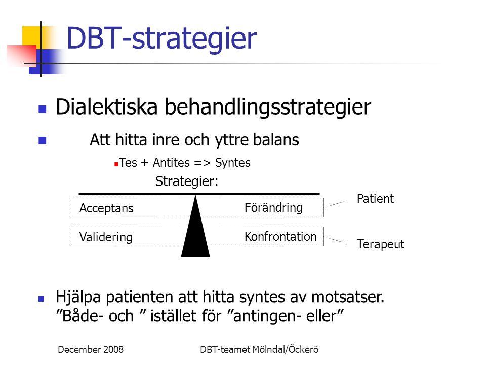 December 2008DBT-teamet Mölndal/Öckerö DBT-strategier Dialektiska behandlingsstrategier Att hitta inre och yttre balans Tes + Antites => Syntes Strategier: Acceptans Validering Förändring Konfrontation Patient Terapeut Hjälpa patienten att hitta syntes av motsatser.
