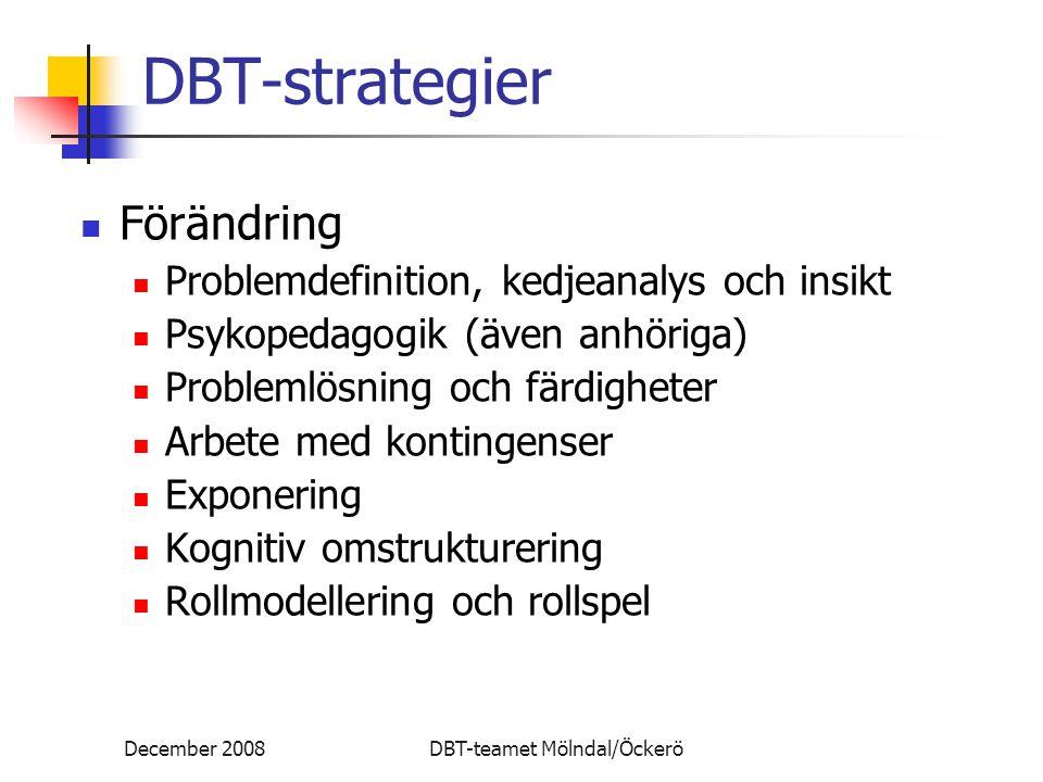 December 2008DBT-teamet Mölndal/Öckerö DBT-strategier Förändring Problemdefinition, kedjeanalys och insikt Psykopedagogik (även anhöriga) Problemlösni