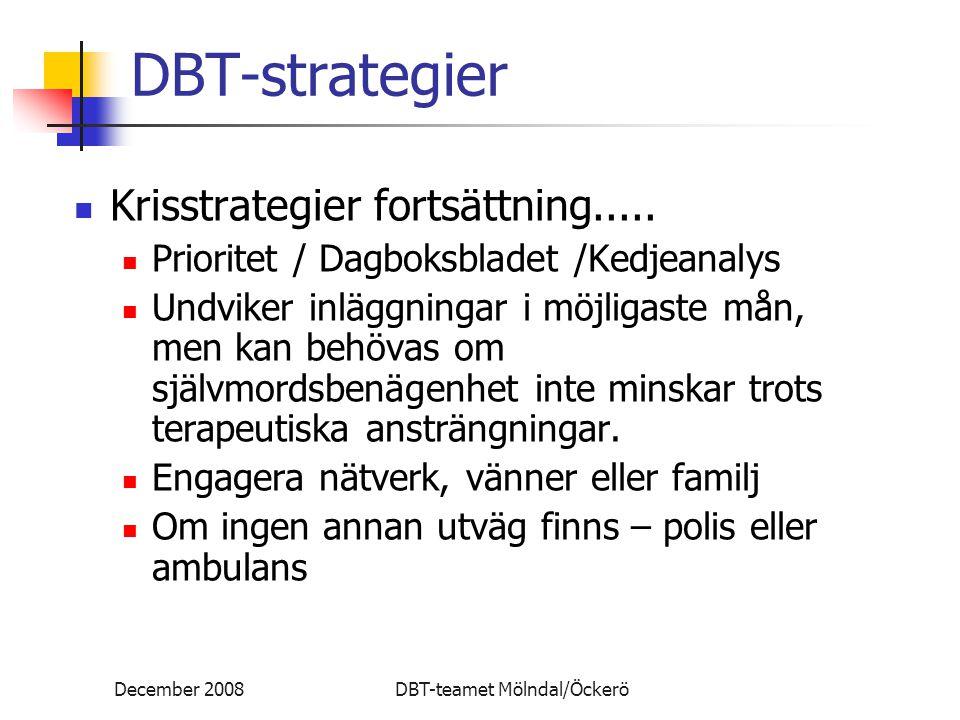 December 2008DBT-teamet Mölndal/Öckerö DBT-strategier Krisstrategier fortsättning..... Prioritet / Dagboksbladet /Kedjeanalys Undviker inläggningar i