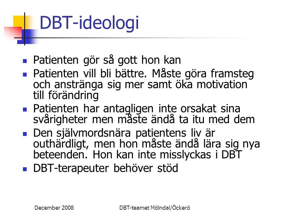 December 2008DBT-teamet Mölndal/Öckerö DBT-ideologi Patienten gör så gott hon kan Patienten vill bli bättre. Måste göra framsteg och anstränga sig mer