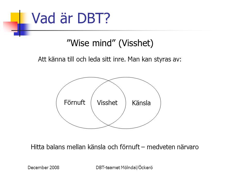"""December 2008DBT-teamet Mölndal/Öckerö Vad är DBT? Förnuft Visshet Känsla """"Wise mind"""" (Visshet) Att känna till och leda sitt inre. Man kan styras av:"""