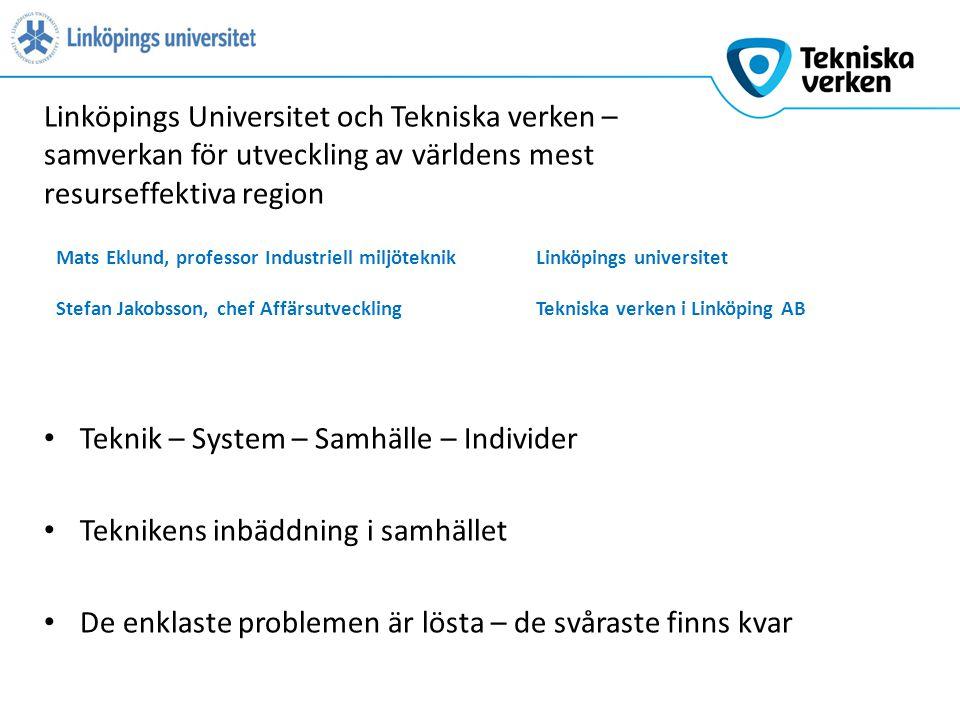 Teknik – System – Samhälle – Individer Teknikens inbäddning i samhället De enklaste problemen är lösta – de svåraste finns kvar Linköpings Universitet