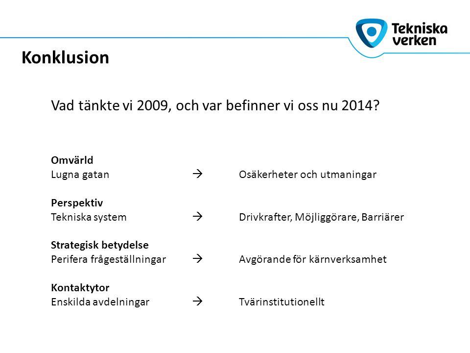 Vad tänkte vi 2009, och var befinner vi oss nu 2014? Konklusion Omvärld Lugna gatan  Osäkerheter och utmaningar Perspektiv Tekniska system  Drivkraf