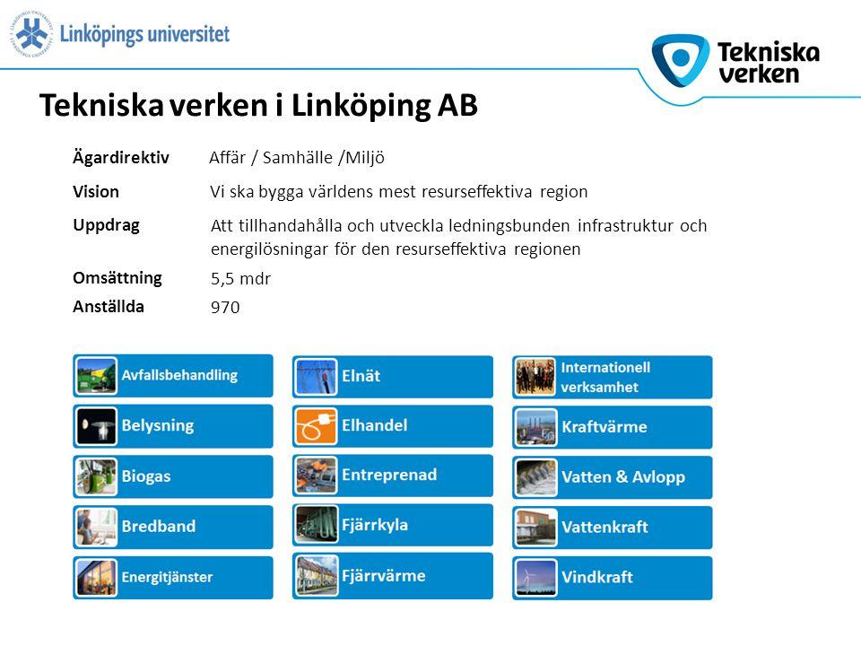 Tekniska verken i Linköping AB VisionVi ska bygga världens mest resurseffektiva region Uppdrag Att tillhandahålla och utveckla ledningsbunden infrastruktur och energilösningar för den resurseffektiva regionen ÄgardirektivAffär / Samhälle /Miljö Omsättning 5,5 mdr Anställda 970