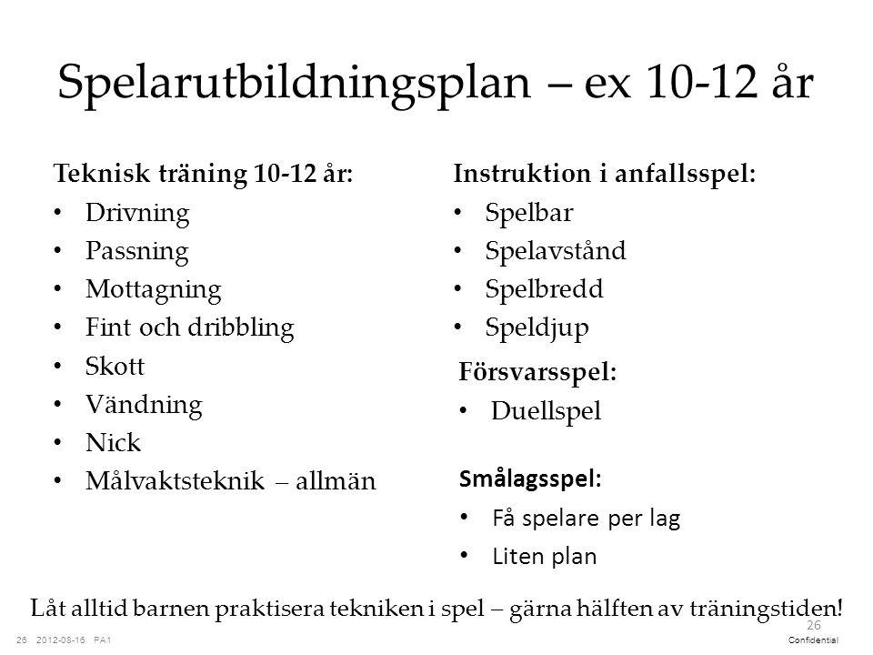 PA12012-08-1626Confidential Spelarutbildningsplan – ex 10-12 år Teknisk träning 10-12 år: Drivning Passning Mottagning Fint och dribbling Skott Vändni