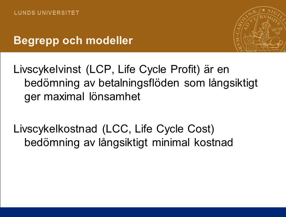 7 L U N D S U N I V E R S I T E T Begrepp och modeller Livscykelvinst (LCP, Life Cycle Profit) är en bedömning av betalningsflöden som långsiktigt ger maximal lönsamhet Livscykelkostnad (LCC, Life Cycle Cost) bedömning av långsiktigt minimal kostnad