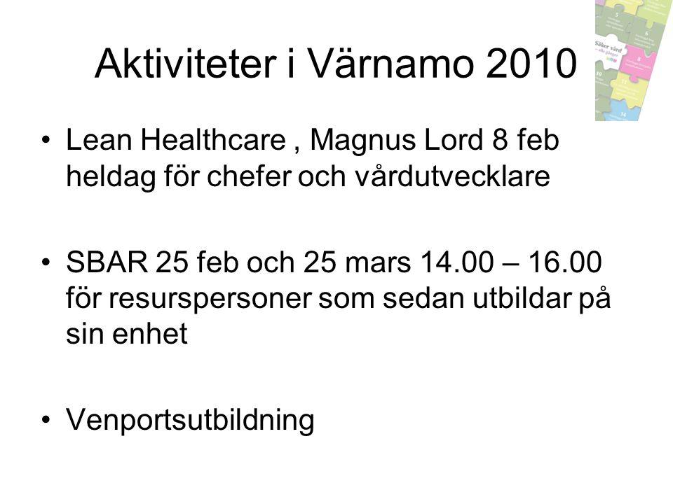 Aktiviteter i Värnamo 2010 Lean Healthcare, Magnus Lord 8 feb heldag för chefer och vårdutvecklare SBAR 25 feb och 25 mars 14.00 – 16.00 för resursper