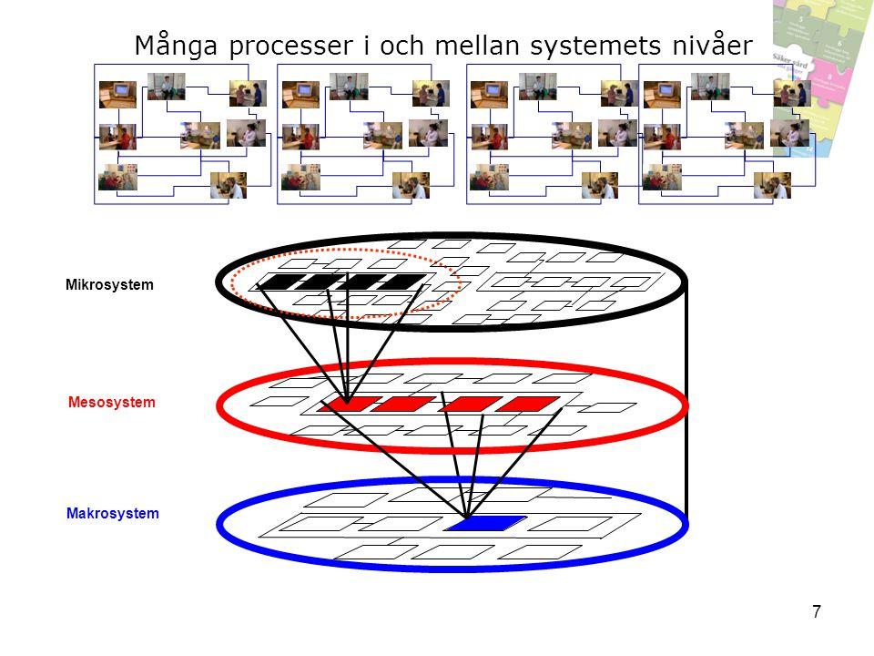 Mesosystem Mikrosystem Makrosystem Många processer i och mellan systemets nivåer 7