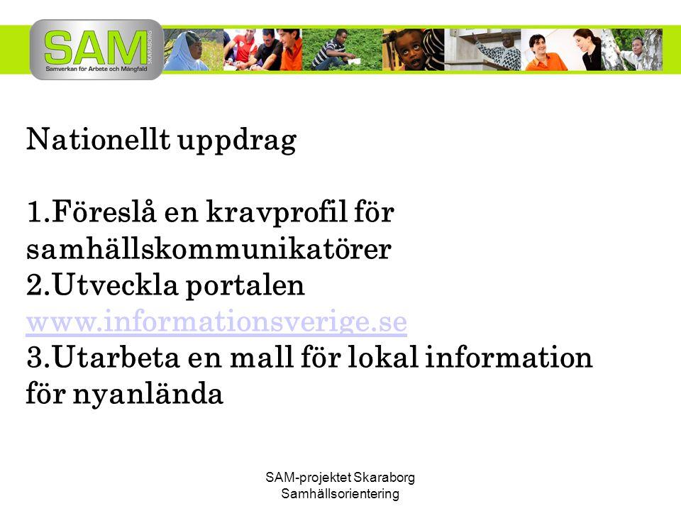 SAM-projektet Skaraborg Samhällsorientering Nationellt uppdrag 1.Föreslå en kravprofil för samhällskommunikatörer 2.Utveckla portalen www.informations