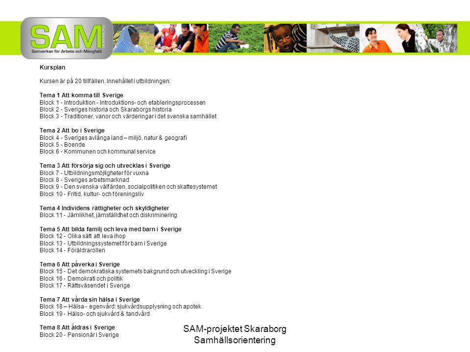 SAM-projektet Skaraborg Samhällsorientering Kursplan Kursen är på 20 tillfällen. Innehållet i utbildningen: Tema 1 Att komma till Sverige Block 1 - In