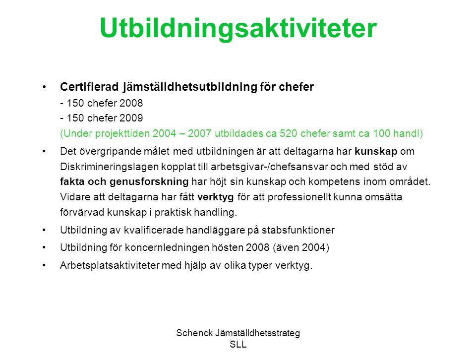 Schenck Jämställdhetsstrateg SLL Utbildningsaktiviteter Certifierad jämställdhetsutbildning för chefer - 150 chefer 2008 - 150 chefer 2009 (Under proj