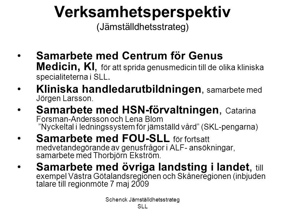 Schenck Jämställdhetsstrateg SLL Verksamhetsperspektiv (Jämställdhetsstrateg) Samarbete med Centrum för Genus Medicin, KI, för att sprida genusmedicin