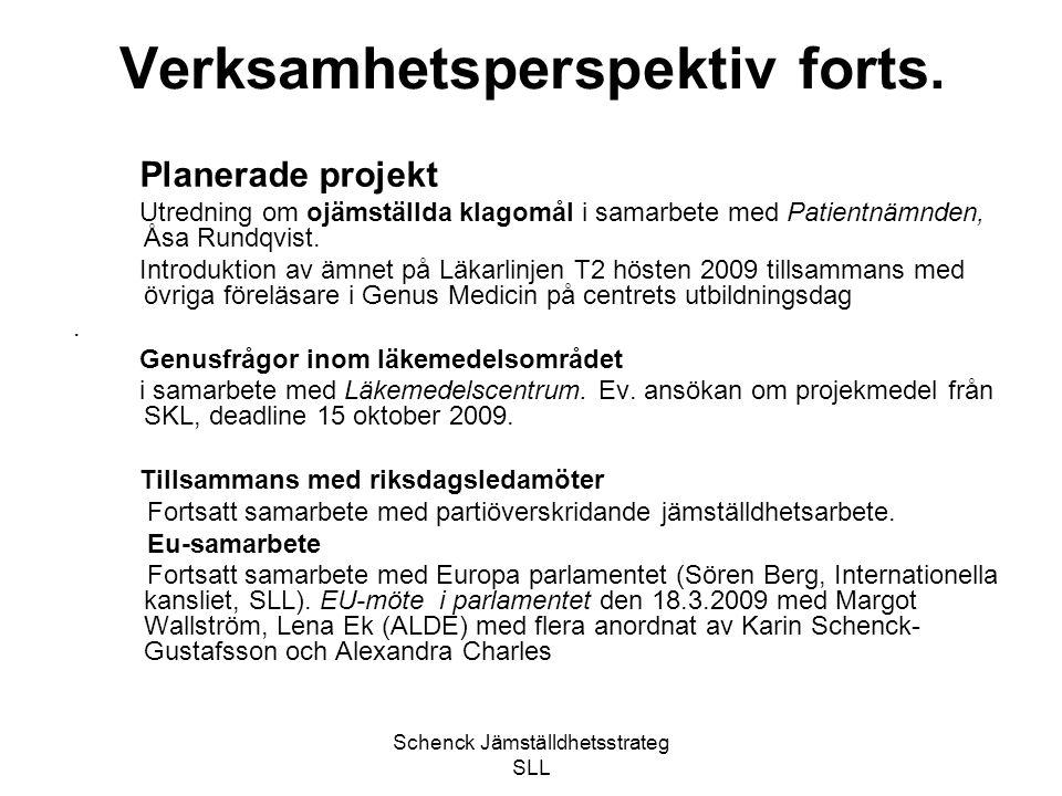 Schenck Jämställdhetsstrateg SLL Verksamhetsperspektiv forts. Planerade projekt Utredning om ojämställda klagomål i samarbete med Patientnämnden, Åsa