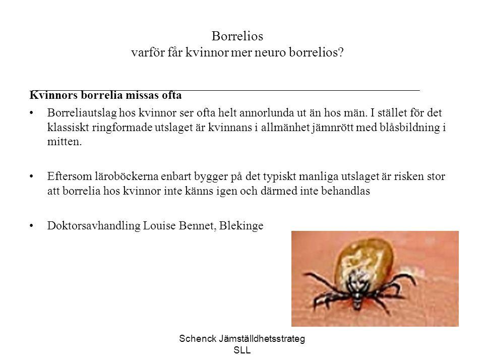 Schenck Jämställdhetsstrateg SLL Borrelios varför får kvinnor mer neuro borrelios? Kvinnors borrelia missas ofta Borreliautslag hos kvinnor ser ofta h